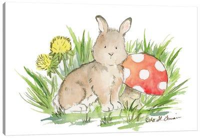 Bunny with Mushroom Canvas Art Print