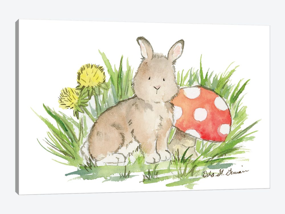 Bunny with Mushroom by Jasper And Ruby 1-piece Canvas Artwork