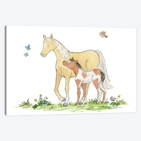 Mare And Foal Canvas Print #JSY54} by Jasper And Ruby Canvas Wall Art