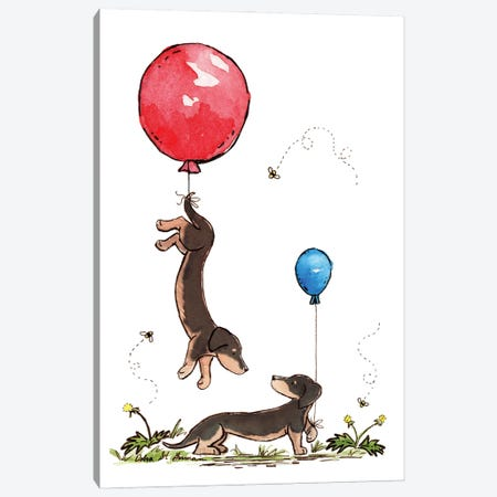 Carried Away Again: Black And Tan Dachshunds with Red And Blue Balloons Canvas Print #JSY56} by Jasper And Ruby Canvas Art