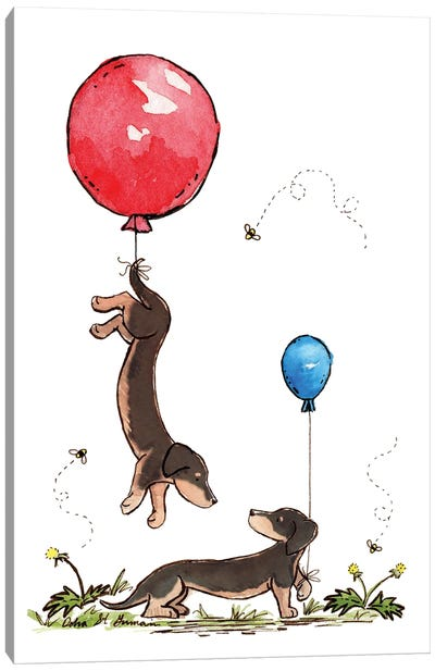 Carried Away Again: Black And Tan Dachshunds with Red And Blue Balloons Canvas Art Print