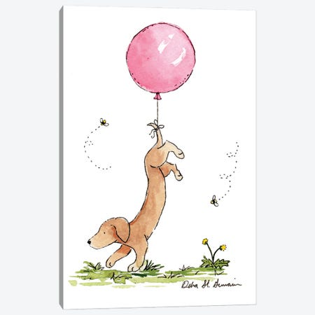 Carried Away: Dachshund with Pink Balloon Canvas Print #JSY57} by Jasper And Ruby Canvas Wall Art