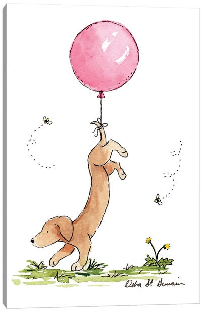 Carried Away: Dachshund with Pink Balloon Canvas Art Print
