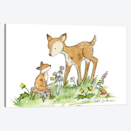 Fawn And Fox Canvas Print #JSY62} by Jasper And Ruby Canvas Wall Art