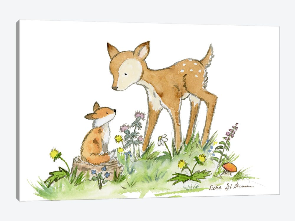 Fawn And Fox by Jasper And Ruby 1-piece Canvas Artwork