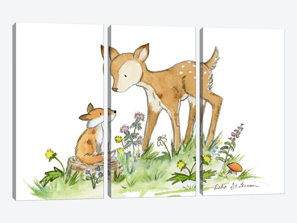 Fawn And Fox by Jasper And Ruby 3-piece Canvas Wall Art