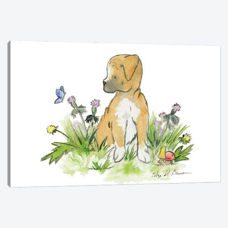 Boxer Puppy Canvas Print #JSY66} by Jasper And Ruby Canvas Art Print