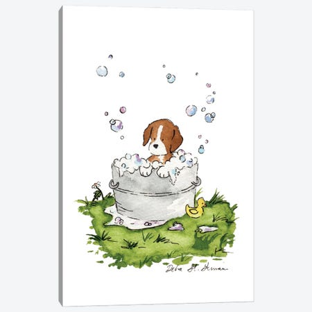 Bath Time for Beagle Canvas Print #JSY6} by Jasper And Ruby Art Print
