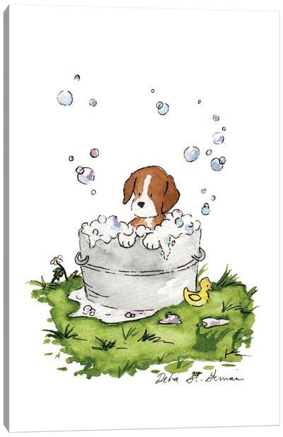 Bath Time for Beagle Canvas Art Print
