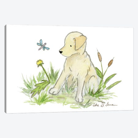 Yellow Lab Puppy Canvas Print #JSY70} by Jasper And Ruby Canvas Print