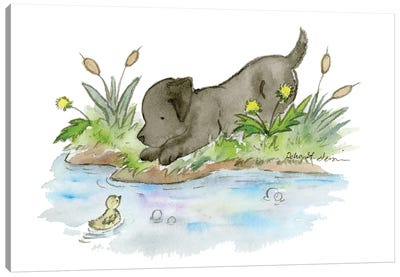 Black Lab Puppy Canvas Art Print