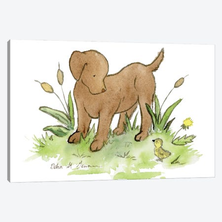 Chocolate Lab Puppy Canvas Print #JSY72} by Jasper And Ruby Canvas Print