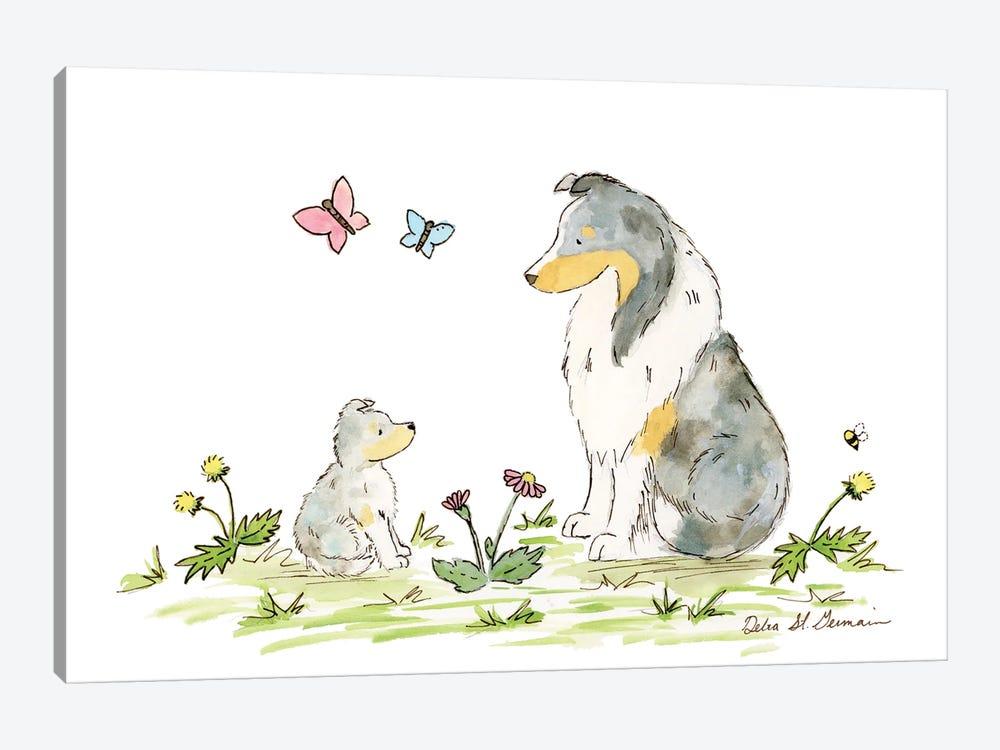 Father And Son Shelties by Jasper And Ruby 1-piece Canvas Art