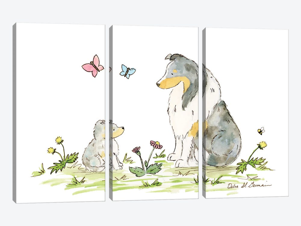 Father And Son Shelties by Jasper And Ruby 3-piece Canvas Artwork