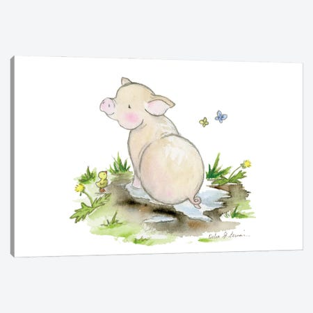 Pig In A Puddle Canvas Print #JSY74} by Jasper And Ruby Canvas Art