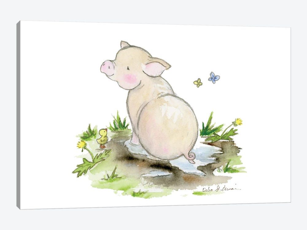 Pig In A Puddle by Jasper And Ruby 1-piece Canvas Art Print
