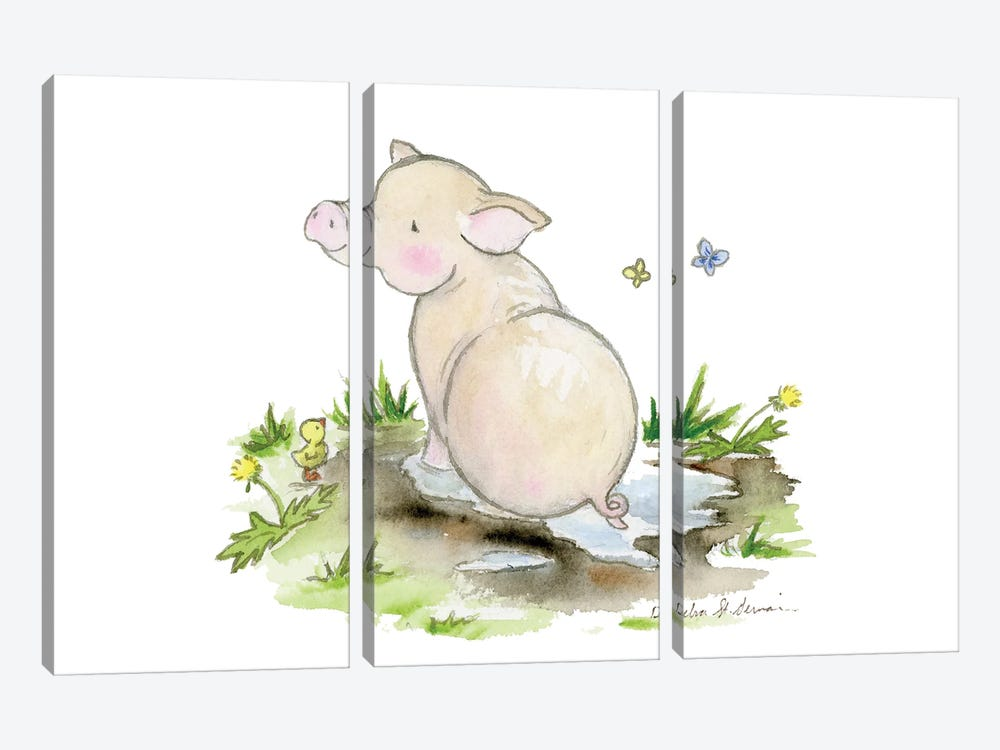 Pig In A Puddle by Jasper And Ruby 3-piece Canvas Print