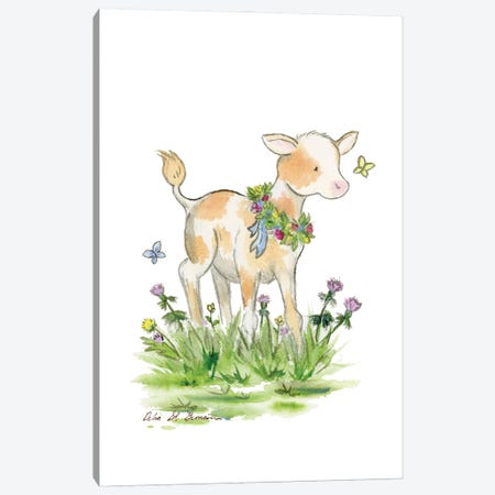 Little Spotted Calf Canvas Print #JSY79} by Jasper And Ruby Art Print