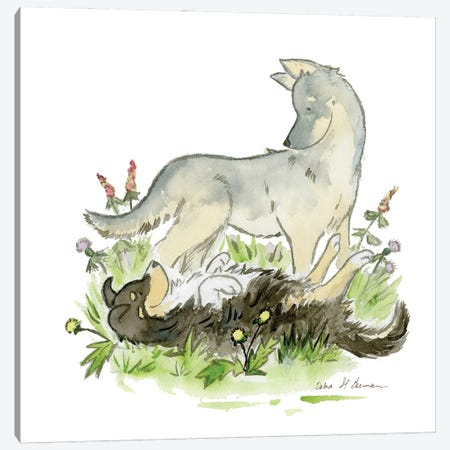 Playful Shepherds Canvas Print #JSY89} by Jasper And Ruby Canvas Wall Art