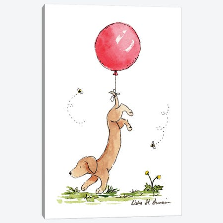 Carried Away: Dachshund with Red Balloon Canvas Print #JSY8} by Jasper And Ruby Canvas Art