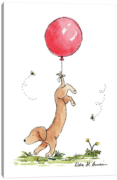 Carried Away: Dachshund with Red Balloon Canvas Art Print