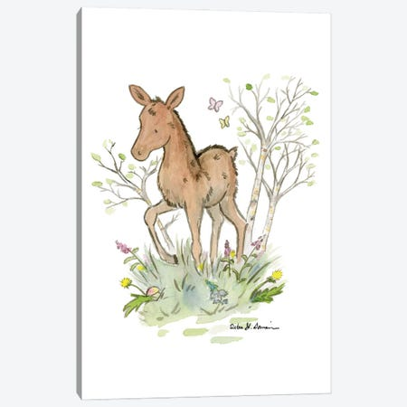 Little Moose Calf Canvas Print #JSY99} by Jasper And Ruby Art Print