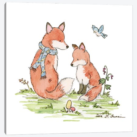 Woodland Foxes Canvas Print #JSY9} by Jasper And Ruby Canvas Wall Art