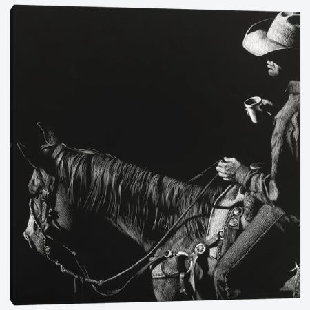 Cowboy Scratchboard I Canvas Print #JTC101} by Julie T. Chapman Canvas Artwork