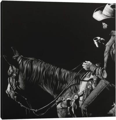 Cowboy Scratchboard I Canvas Art Print