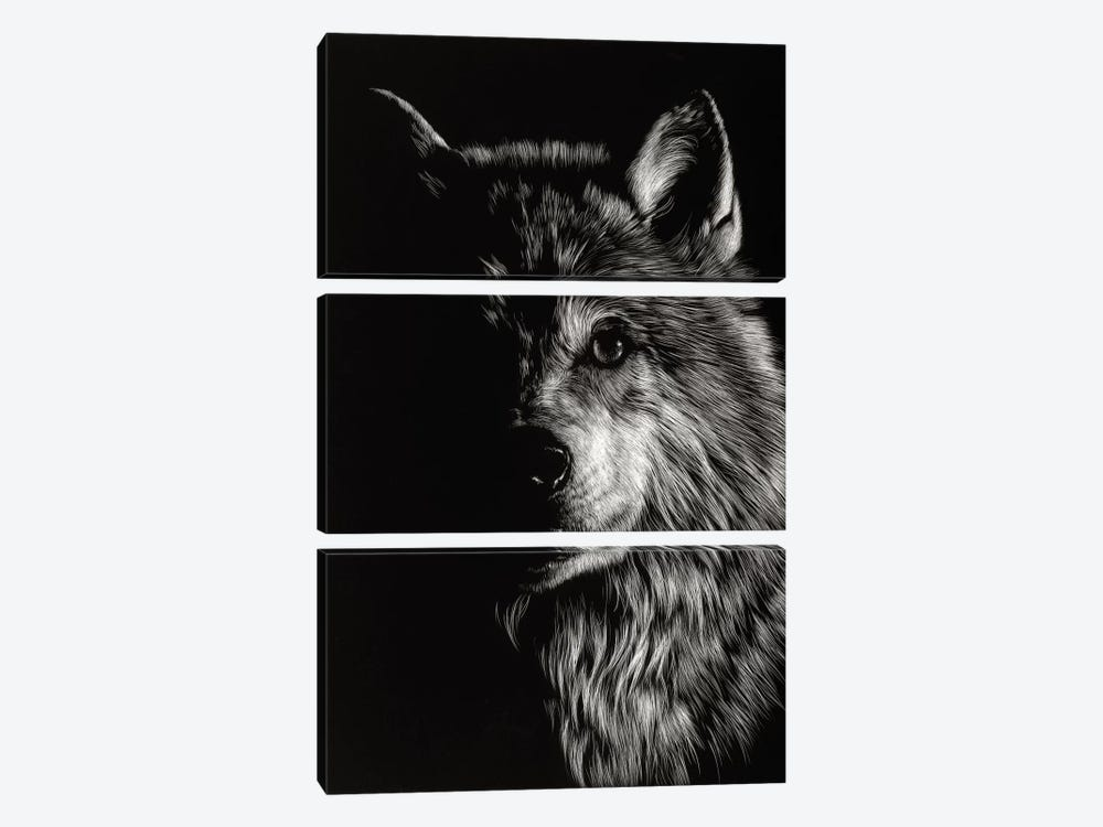 Wolf III by Julie T. Chapman 3-piece Canvas Art Print