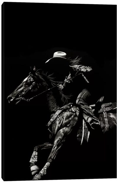 Scratchboard Rodeo I Canvas Art Print
