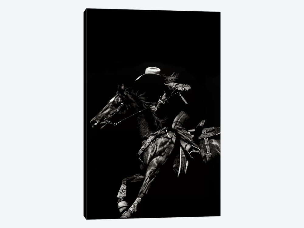 Scratchboard Rodeo I by Julie T. Chapman 1-piece Canvas Wall Art