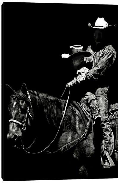 Scratchboard Rodeo II Canvas Art Print