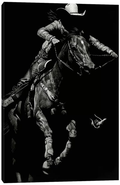 Scratchboard Rodeo IV Canvas Art Print