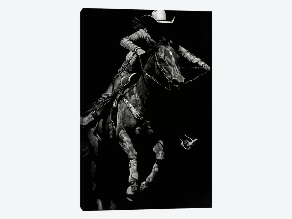 Scratchboard Rodeo IV by Julie T. Chapman 1-piece Canvas Art