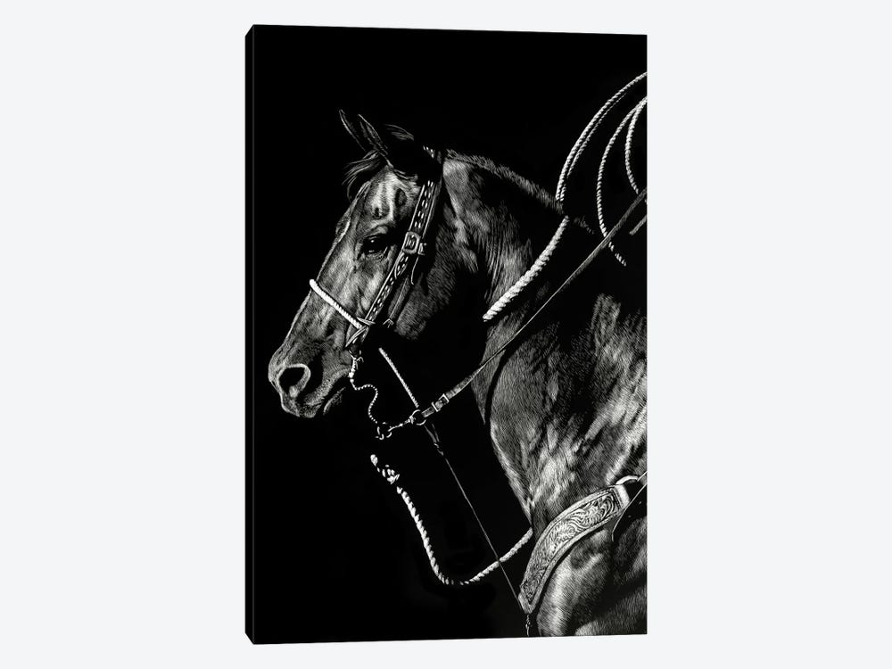 Scratchboard Rodeo V by Julie T. Chapman 1-piece Canvas Art Print