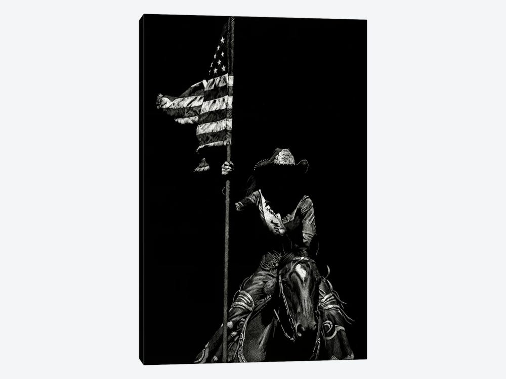 Scratchboard Rodeo VI by Julie T. Chapman 1-piece Canvas Art