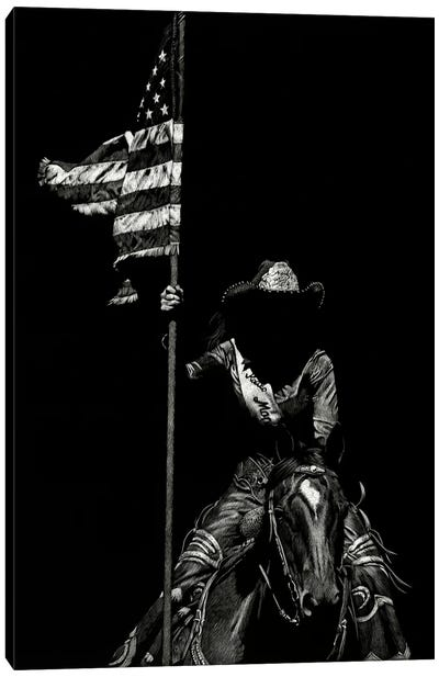 Scratchboard Rodeo VI Canvas Art Print