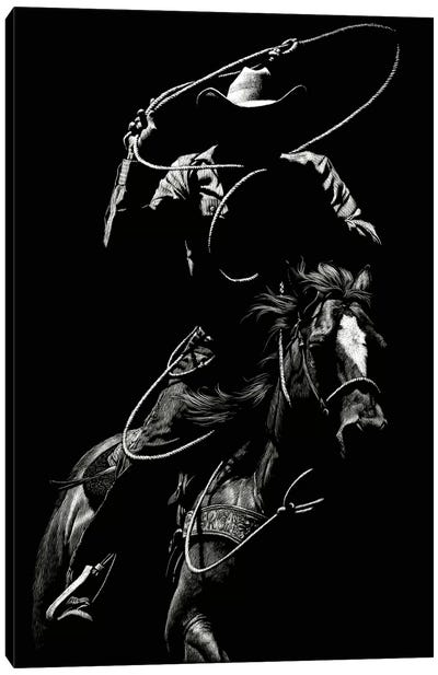 Scratchboard Rodeo VII Canvas Art Print