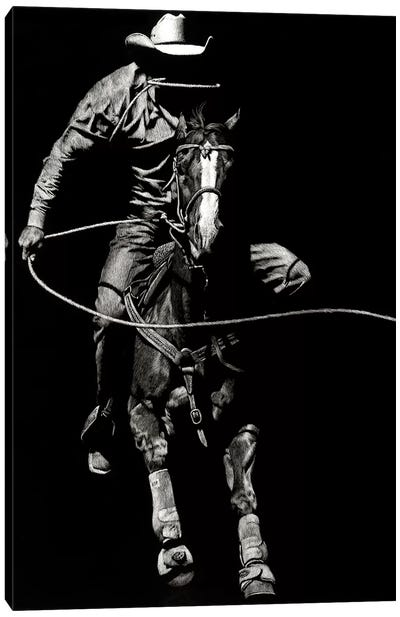 Scratchboard Rodeo VIII Canvas Art Print
