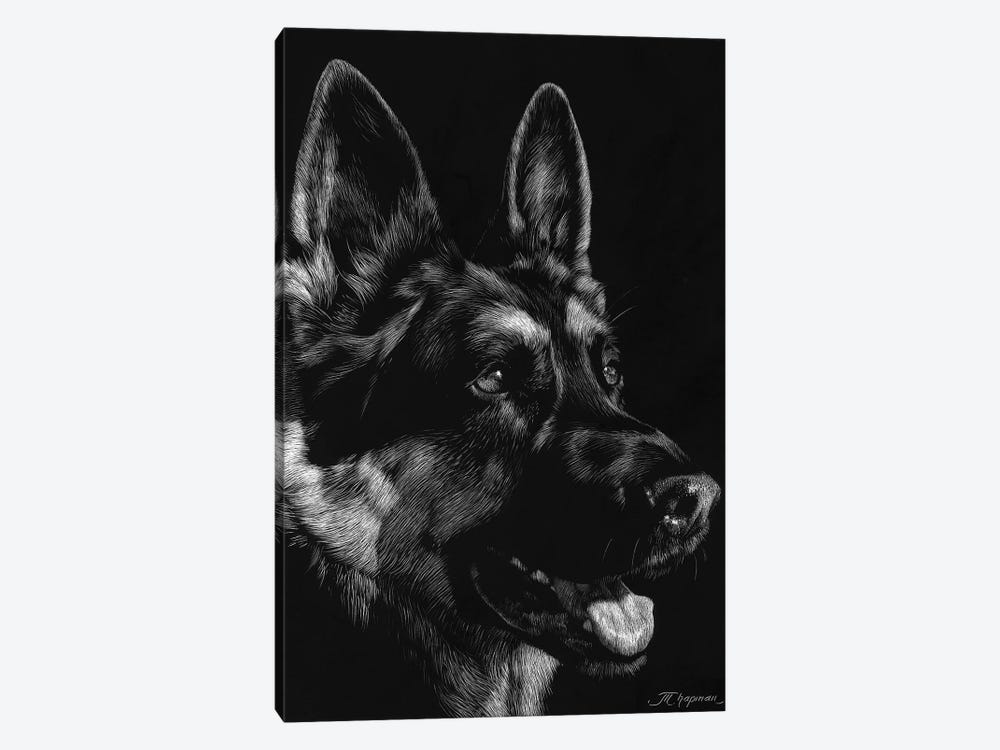 Canine Scratchboard I 1-piece Canvas Wall Art