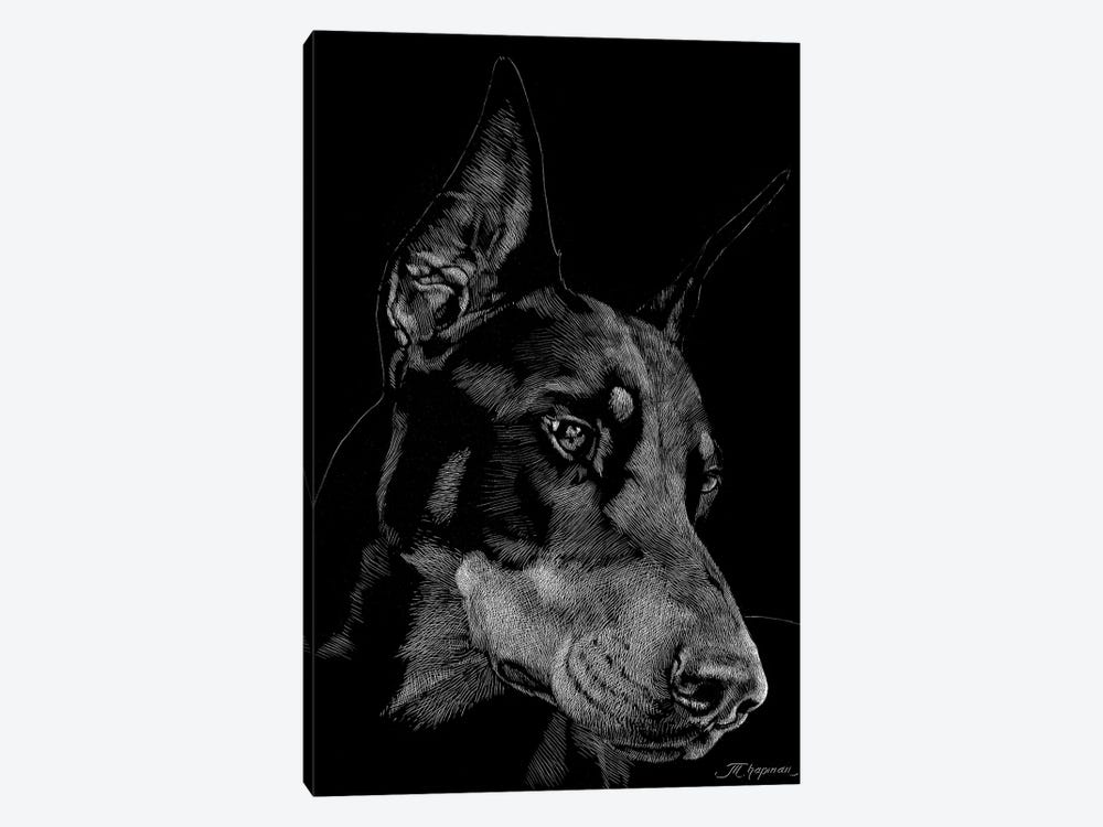 Canine Scratchboard III by Julie T. Chapman 1-piece Canvas Print