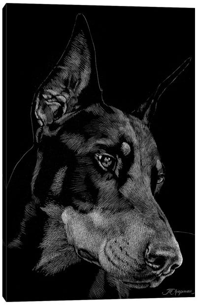 Canine Scratchboard III Canvas Art Print