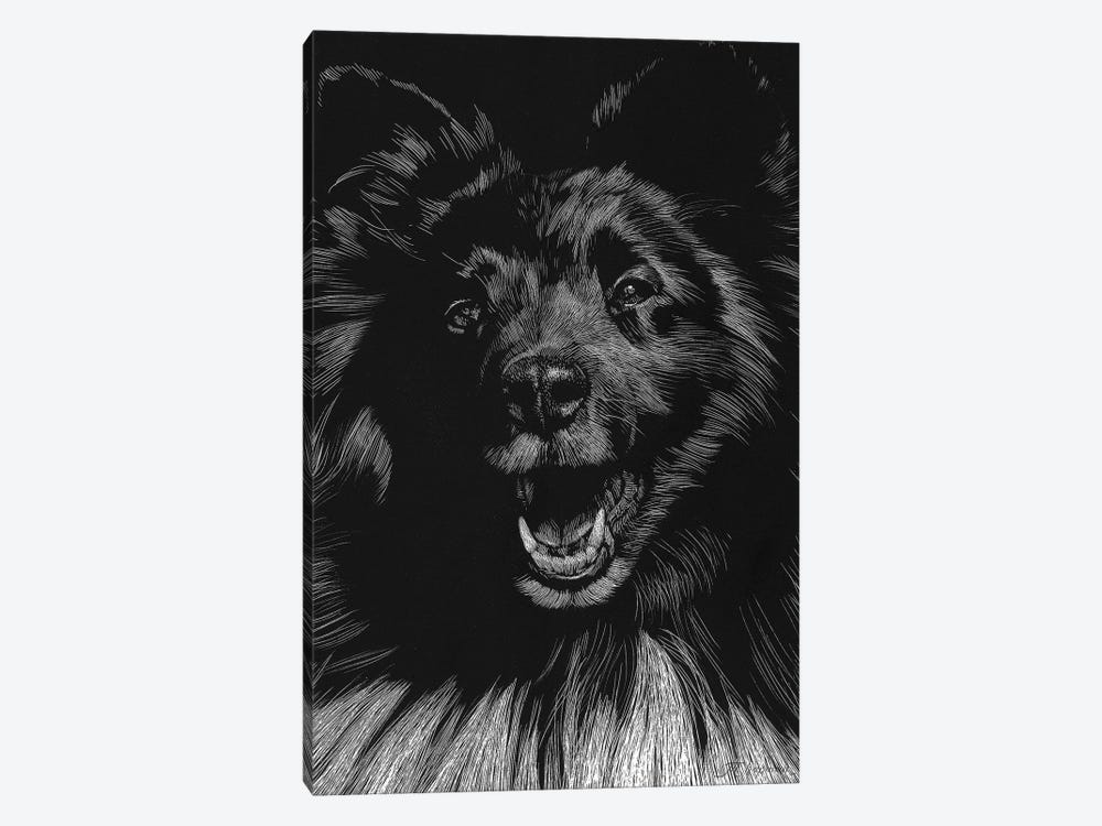 Canine Scratchboard IX by Julie T. Chapman 1-piece Canvas Print