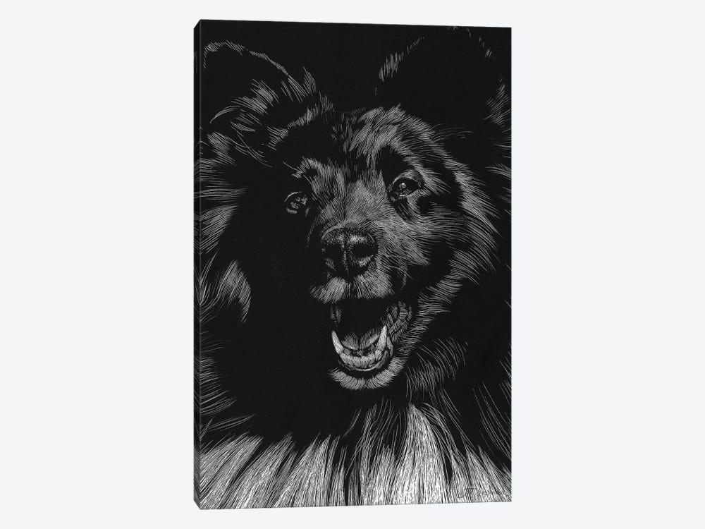 Canine Scratchboard IX by Julie T. Chapman 1-piece Canvas Print