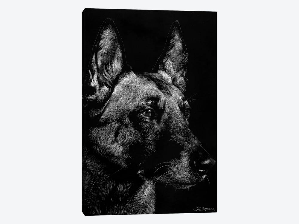 Canine Scratchboard V by Julie T. Chapman 1-piece Canvas Artwork