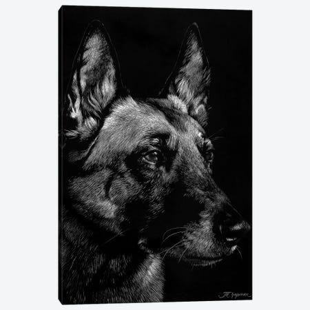 Canine Scratchboard V Canvas Print #JTC54} by Julie T. Chapman Canvas Art Print