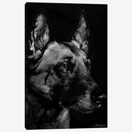 Canine Scratchboard V 3-Piece Canvas #JTC54} by Julie T. Chapman Canvas Art Print