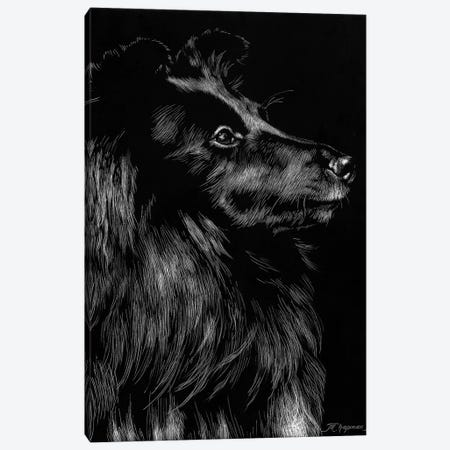 Canine Scratchboard VI 3-Piece Canvas #JTC55} by Julie T. Chapman Canvas Art Print