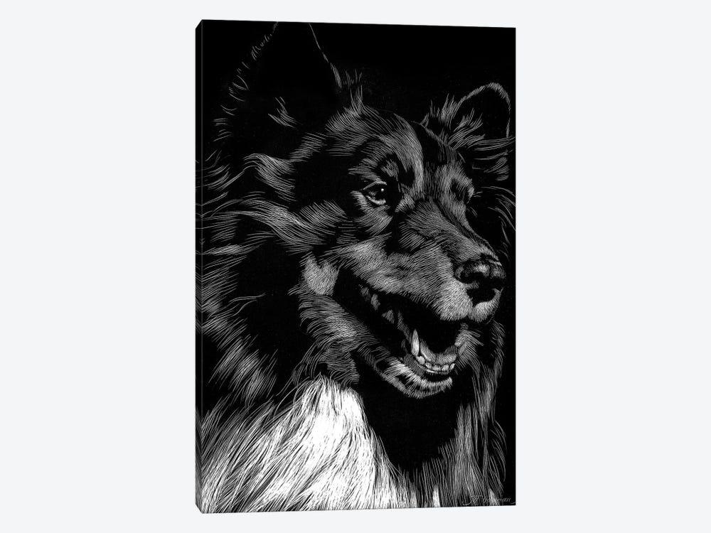 Canine Scratchboard X by Julie T. Chapman 1-piece Canvas Art